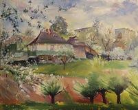Konstmålning av vårlandskapet Royaltyfri Foto