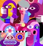 Konstmålning för fyra kvinnor vektor illustrationer