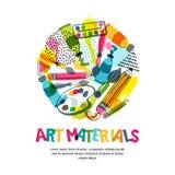 Konstmaterial för hantverkdesign och kreativitet Vektor isolerad illustration i cirkelform Baner affischbakgrund royaltyfri illustrationer
