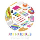 Konstmaterial f?r hantverkdesign och kreativitet Vektorklottret isolerade illustrationen i cirkelform Baner eller affisch vektor illustrationer
