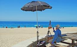 Konstnär på den Aliso stranden i Laguna Beach, Kalifornien Arkivbild