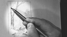 Konstnären drar en skissa av en målning vektor illustrationer