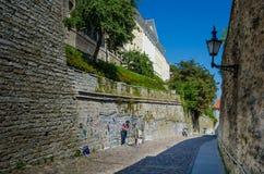 Konstnären säljer hans konst i den medeltida staden av Tallinn i Estland Arkivbild