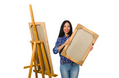 Konstnären som arbetar på paletten som isoleras på vit Arkivbilder