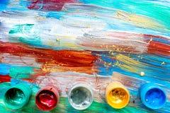 Konstnärer oljer mångfärgad abstrakt textur med bästa sikt för målarfärguppsättning Royaltyfria Foton