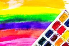 Konstnärer oljer mångfärgad abstrakt textur med bästa sikt för målarfärguppsättning Arkivfoto