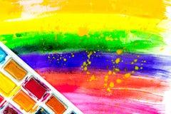 Konstnärer oljer mångfärgad abstrakt textur med bästa sikt för målarfärguppsättning Royaltyfria Bilder