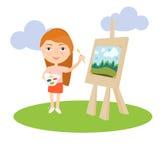 Konstnärkvinnlig- eller flickamålning på kanfas med konstsymboler Teckendesign vektor Royaltyfri Bild