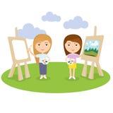 Konstnärkvinnlig- eller flickamålning på kanfas med konstsymboler Teckendesign vektor Royaltyfri Fotografi