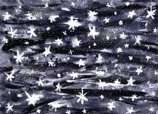 Konstnärlig bakgrund för himmel för vattenfärgstillhetnatt med skinande stjärnor För utrymmegalax för hand utdragen illustration stock illustrationer