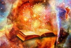 Konstnärlig dator frambragd illustration 3d av fyrverkerier som kommer ut ur en forntida magisk bok i en nebulosabakgrund arkivfoto