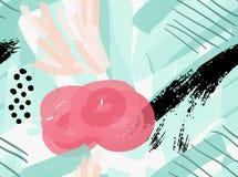 Konstnärlig färg borstade gräsplan och rosa färger med svart grunge Arkivfoto
