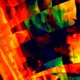 Konstnärlig färgrik konst Idérik penseldragtextur modern abstrakt bakgrund Röd färg för blått för gräsplangulingapelsin Design Arkivfoton