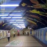 Konstnärlig gångtunnel - Ayala aveny arkivbilder