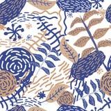 Konstnärlig grafisk sömlös modell för vektor med linjer, blommor och sidor Stilfull retro design Royaltyfri Bild