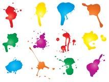Konstnärlig grungy målarfärgdroppe, hand - gjorde färgstänk vektor illustrationer