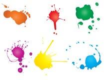 Konstnärlig grungy målarfärgdroppe, hand - gjorde idérik färgstänk eller plaskar slaglängduppsättningen stock illustrationer