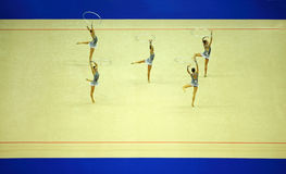 konstnärlig gymnastik förenar uppvisning Royaltyfria Foton