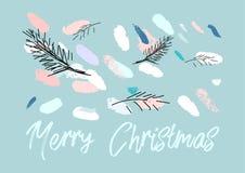 Konstnärlig hand dragen ovanlig juldesign Royaltyfri Fotografi