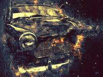 konstnärlig retro bil Arkivfoto
