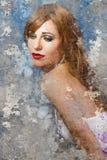 Konstnärlig stående med texturerad bakgrund, flickabröllopsklänning royaltyfri foto