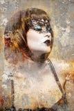 Konstnärlig stående med texturerad bakgrund, härlig brunett w royaltyfria foton
