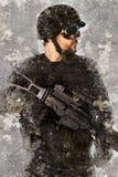 Konstnärlig stående med texturerad bakgrund, polis royaltyfri foto