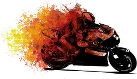 Konstnärlig stiliserad motorcykeltävlingsförare i rörelse illustration stock illustrationer