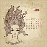 Konstnärlig tappningkalender för Januari 2014. Kvinna vektor illustrationer