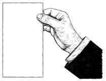 Konstnärlig teckningsillustration för vektor av handen som rymmer tomt papper Arkivbilder