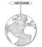 Konstnärlig teckningsillustration för vektor av världsjordklotet med pilar för förgånget och framtida beslut royaltyfri illustrationer