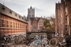 konstnärlig vattenfärg för textur för Belgien kanalghent stil Arkivbilder