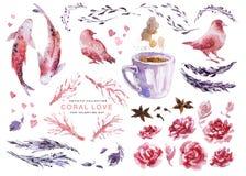 Konstnärlig vattenfärgsamling av förälskelsebeståndsdelar för kort för valentindag- & bröllopberöm, affischer, tryck, broschyrer vektor illustrationer