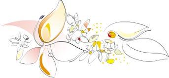 konstnärlig vektor för fjäder för blommaillustrationnatur stock illustrationer
