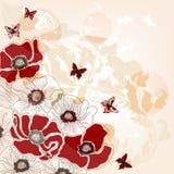 Konstnärlig vykort med vallmor och fjärilar royaltyfri illustrationer