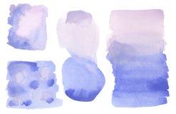 Konstnärliga blått för vattenfärgWashbakgrund, lila, lila som isoleras stock illustrationer