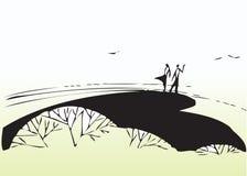 Konstnärliga par i park vektor illustrationer