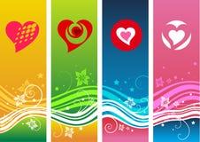 Konstnärliga valentinbakgrunder royaltyfri illustrationer