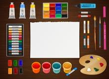 Konstnärligt designbegrepp på träbakgrund vektor illustrationer