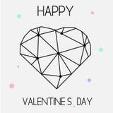 Konstnärligt idérikt kort för St-valentindag med geometriskt hjärtasymbol Royaltyfri Fotografi