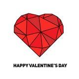 Konstnärligt idérikt kort för St-valentindag med rött geometriskt hjärtasymbol Fotografering för Bildbyråer