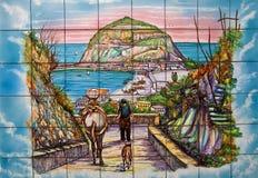 Konstnärligt keramiskt av den Serrana Fontana Ischiaön Arkivbilder