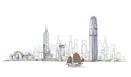 Konstnärligt skissa av den Hong Kong fjärden, skissar samlingen stock illustrationer