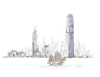 Konstnärligt skissa av den Hong Kong fjärden, skissar samlingen Royaltyfria Bilder