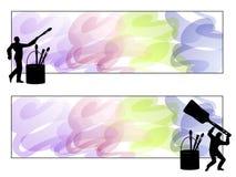 konstnärlogopaintbrush stock illustrationer