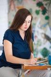 Konstnärmålningbild på kanfaswhithakvareller Arkivfoton
