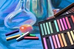 Konstnärpastell och original- pastellfärgad teckning av stilleben Arkivbild