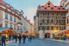KonstNouveau byggnad i Prague Arkivbilder