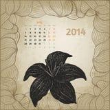 Konstnärlig tappningkalender med den drog bläckpennahanden Arkivbilder