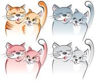 konstnärliga katter älskar vec två Arkivfoton